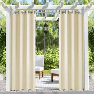 50 in x 84 in Patio Outdoor Curtain UV Privacy Drape Waterproof Window Treatment Solid Tab Top Panel , Beige