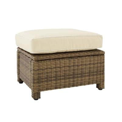 Bradenton Weathered Brown Outdoor Wicker Ottoman with Sand Cushions