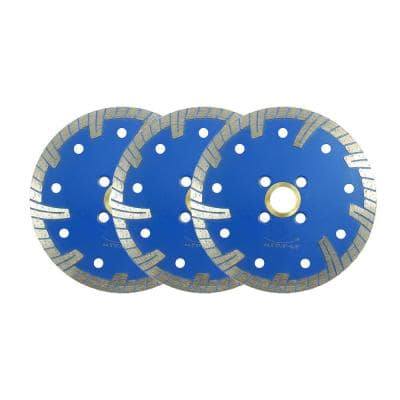 4.5 in. Turbo Diamond Blade for Cutting Granite, Concrete and Brick with Continuous Rim Dry/Wet Use (3-Piece Pack)
