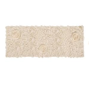 Bell Flower Collection Ivory 21 in. x 54 in. Cotton Bath Rug