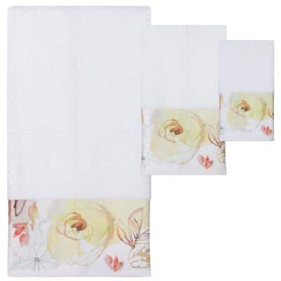 3-Piece Multi-Colored Blush and Blooming Towel Set