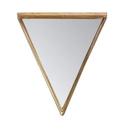 18 in. x 16 in. Modern Novelty Framed Gatana Metallic Gold Shelf Triangle Accent Mirror