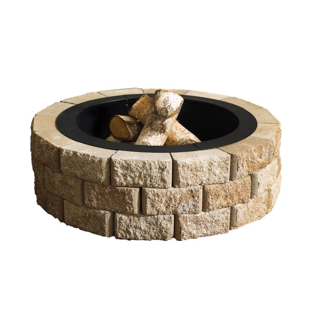 Oldcastle Hudson Stone 40 In Round Fire Pit Kit 70300877 The Home Depot