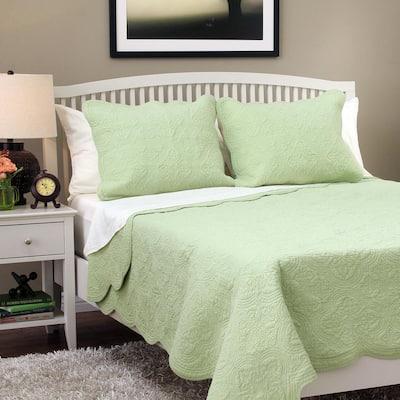 Victorian Medallion Matelasse Pure Solid 3-Piece Light Sage Green Scalloped Edge Cotton Queen Quilt Bedding Set