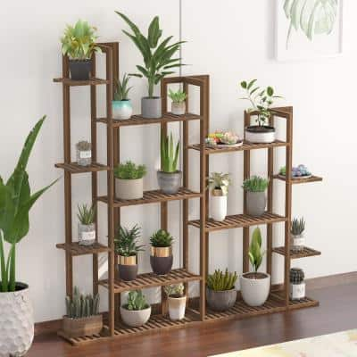7-Tier Wooden Rack Bamboo Indoor/Outdoor Multi-Layers Shelf Flower Pot Plant Stand