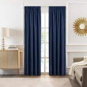 Bordeaux 52 in. W x 84 in. L Polyester Light Filtering Curtain Panel in Navy