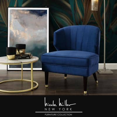 Harold Navy Velvet Accent Chair with Upholstered Armless
