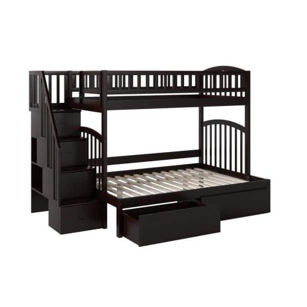 Atlantic Furniture Westbrook Espresso Twin Over Full Staircase Bunk With 2 Urban Bed Drawers Ab65741 The Home Depot
