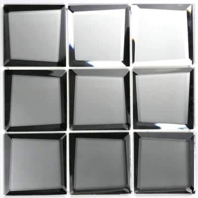 Reflections Frosted Silver Beveled Square Mosaic 3 in. x 3 in. Matte Glass Mirror Mesh Mounted Wall Tile (0.625 Sq. ft.)