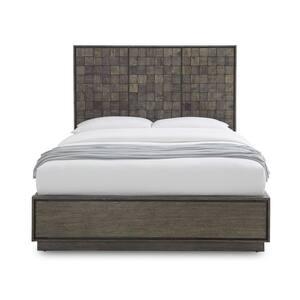Berkeley Medium Wood with Butcher Block Headboard Natural Sengon Queen Platform Bed
