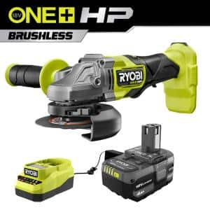 ONE+ HP 18V Brushless Cordless 4-1/ 2 in. Angle Grinder Kit with (1) 4.0 Ah Battery and Charger