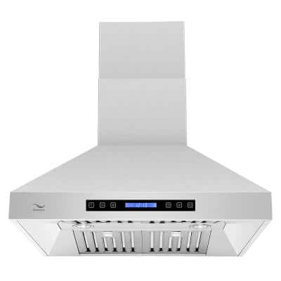 30 in. 860 CFM Ducted Wall Mount Range Hood in Stainless Steel with Baffle Filters, LED Light, Touch Screen Control