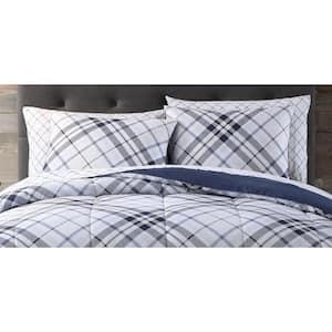 Khalvin 5-Piece Indigo Polyester Twin Bed in a Bag