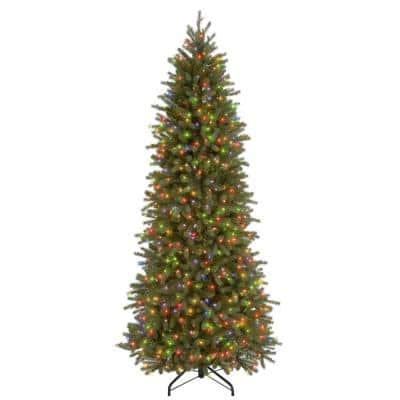 7-1/2 ft. Feel Real Jersey Fraser Pencil Slim Fir Hinged Artificial Christmas Tree with 650 Multicolor Lights-UL