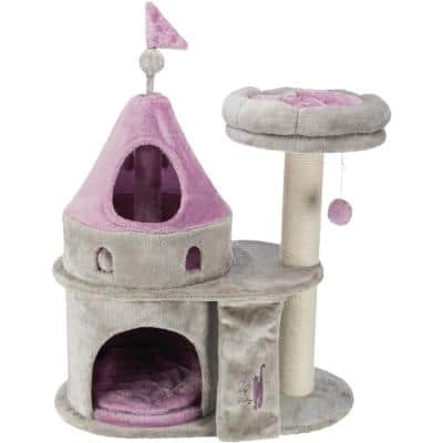 TRIXIE My Kitty Darling Castle Condo, Scratching Post, Cat Tree, Cat Furniture, Pom Pom, Removable Cushion
