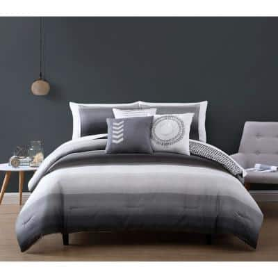 Cypress 10 Piece Black/Grey King Bed in a Bag Comforter Set
