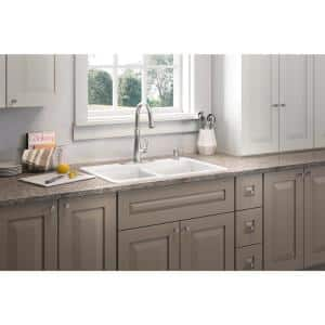 Brookfield Drop-In Cast-Iron 33 in. 4-Hole Double Bowl Kitchen Sink in White with Bellera Faucet