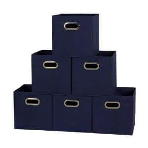 11 in. x 11 in. x 11 in. Navy Fabric Collapsible Cube Storage Bin
