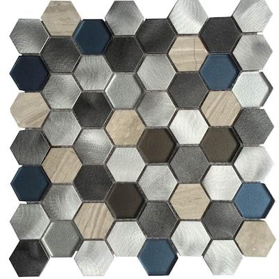 CHENX 11.81 in. x 12.40 in. x 8 mm Aluminum Metal Glass Stone Backsplash in Multi Color (11.19 sq. ft. / case)