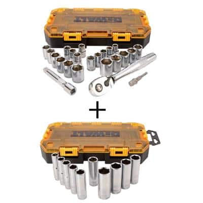 1/2 in. Drive Socket Set with 10-Piece 1/2 in. Drive Deep Socket Set (23-Piece)