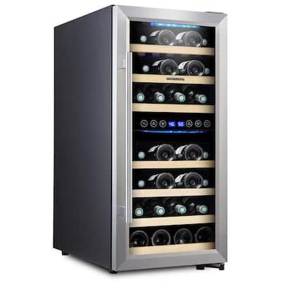 33 Bottle Wine Cooler Double Zone Steel Door - Free Frost