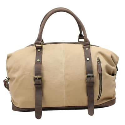 18 in. Khaki Medium Classic Antique Style Cotton Canvas with Full Grain Leather Overnight Duffel Bag