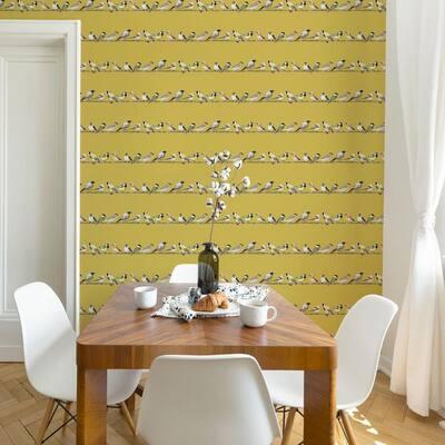 Tweeting Watercolor Birds Teal/Pale Gold Wallpaper Sample