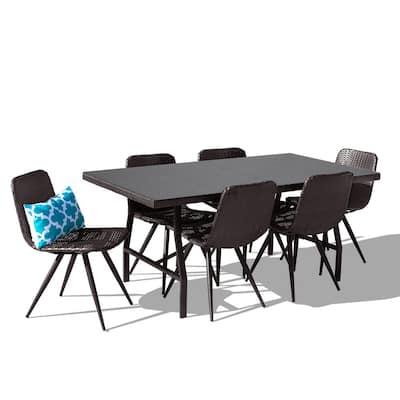 Castelli 7-Piece Rattan Wicker UV-Resistant Outdoor Patio Dining Set