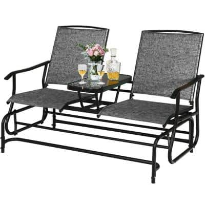 Gray 2-Person Metal Double Rocking Outdoor Patio Loveseat