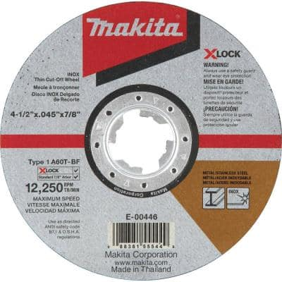 X-LOCK 4-1/2 in. x 0.045 in. x 7/8 in. 60-Grit General Purpose Thin Cut‑Off Wheel for Metal and Stainless Steel Cutting