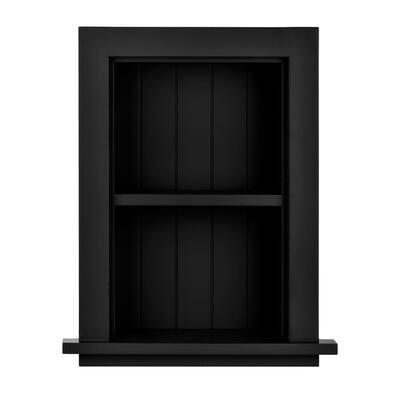 12.75 in. W Wood Bathroom Recessed Wall Shelf in Black