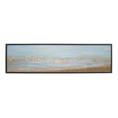 """19 in. x 71 in. """"White Birds Flying"""" Framed Hand Painted Canvas Wall Art"""