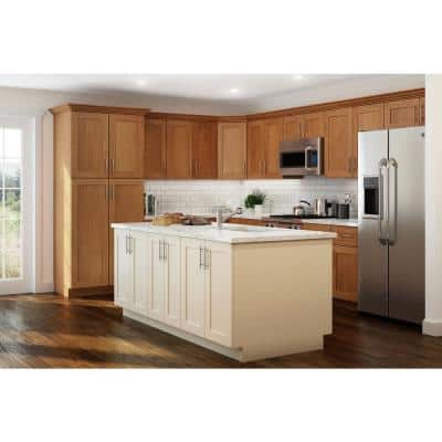 Hargrove Assembled 18x96x24 in. Plywood Shaker Utility Kitchen Cabinet Soft Close Right 4 rollouts in Stained Cinnamon