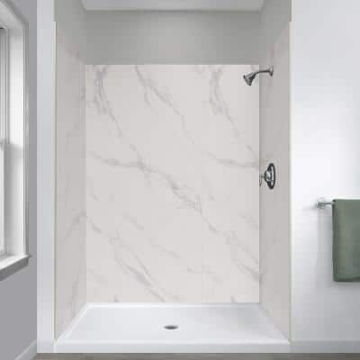 Jetcoat 34 in. x 48 in. x 78 in. Shower Kit in Carrara White with Center Drain Base in White (5-Piece)
