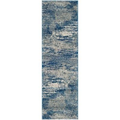 Evoke Navy/Ivory 2 ft. x 11 ft. Runner Rug