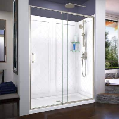 Flex 60 in. x 72 in. Semi-Frameless Pivot Shower Door in Brushed Nickel with 60 in. x 32 in. Base and Wall in White