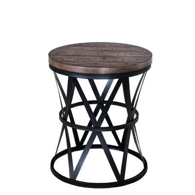 Dark Brown Barrel Table with Metal Legs