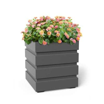 Self-Watering Freeport 18 in. Square Graphite Grey Plastic Planter