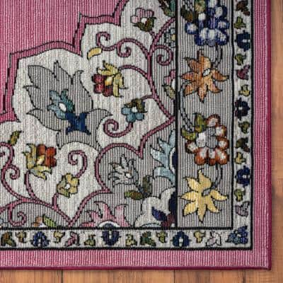 Gala Pink / Gray 5 ft. x 7 ft. 6 in. Medallion Traditional Border Polypropylene Area Rug