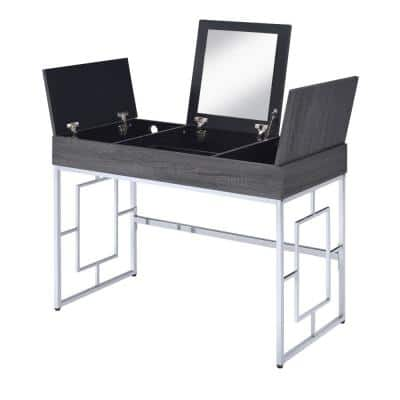 Gray and Silver Wooden Vanity Desk with Three Storage Compartments and Metal Legs