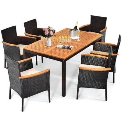 7-Piece Wicker Rectangular Outdoor Dining Set with Beige Cushions