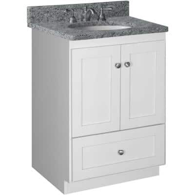 Shaker 24 in. W x 21 in. D x 34.5 in. H Simplicity Vanity with No Side Drawers in Satin White