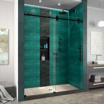 Enigma-XO 56-60 in. W x 76 in. H Frameless Sliding Shower Door in Satin Black Stainless Steel