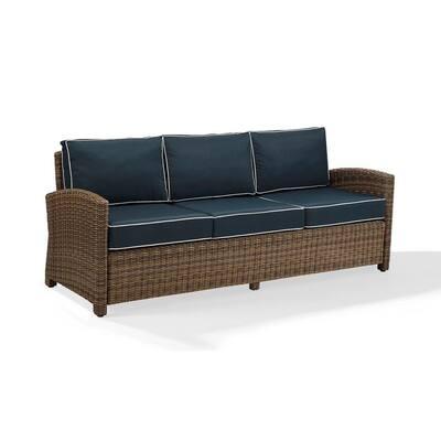 Bradenton Wicker Outdoor Sofa with Navy Cushions