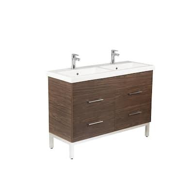 Infinity 48 in. W x 18 in. D Double Bath Vanity in American Walnut with Ceramic Vanity Top in White