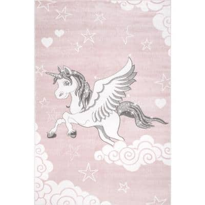 Winged Unicorn Kids Pink 9 ft. x 12 ft. Area Rug