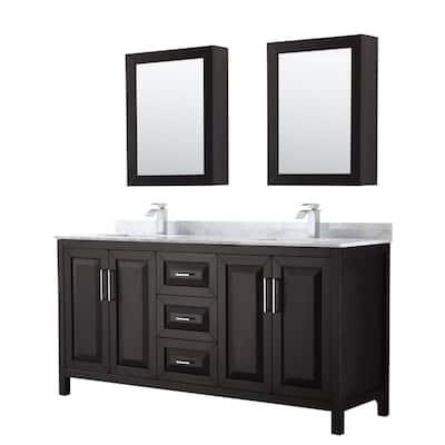 Daria 72 in. Double Bathroom Vanity in Dark Espresso with Marble Vanity Top in Carrara White and Medicine Cabinets