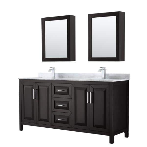 Wyndham Collection Daria 72 In Double Bathroom Vanity In Dark Espresso With Marble Vanity Top In Carrara White And Medicine Cabinets Wcv252572ddecmunsmed The Home Depot