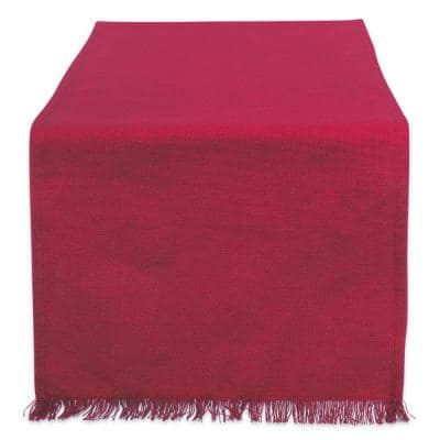 Wine Solid Heavyweight Fringed Cotton Table Runner