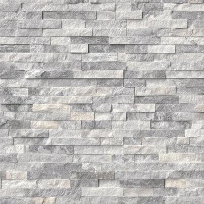 Alaska Gray Mini Ledger Panel 4.5 in. x 16 in. Natural Marble Wall Tile (5 sq. ft. /case)